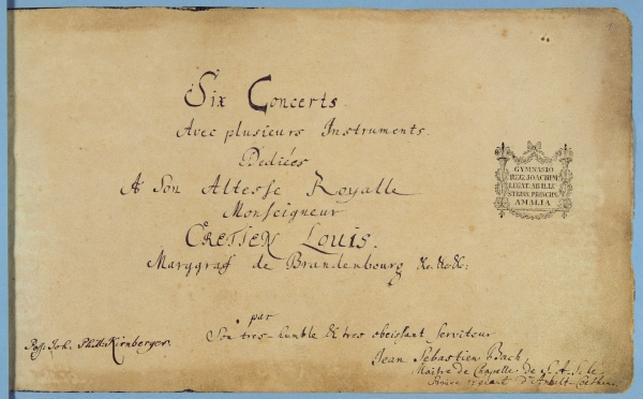 A capa dos concertos dedicados ao Margrave de Brandenburgo