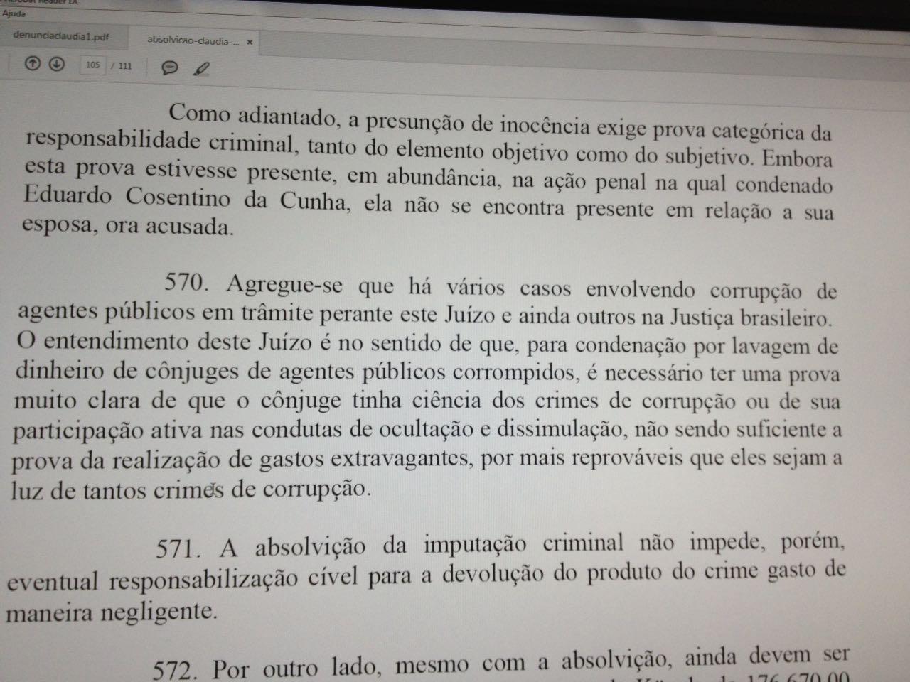 Parágrafo 570 da sentença que absolveu Cláudia Cruz. Dizer o quê?
