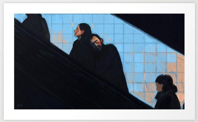 A Couple on the Escalator, de Holly Warburton
