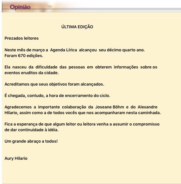 Aury Hilário fecha (ou não) sua Agenda Lírica