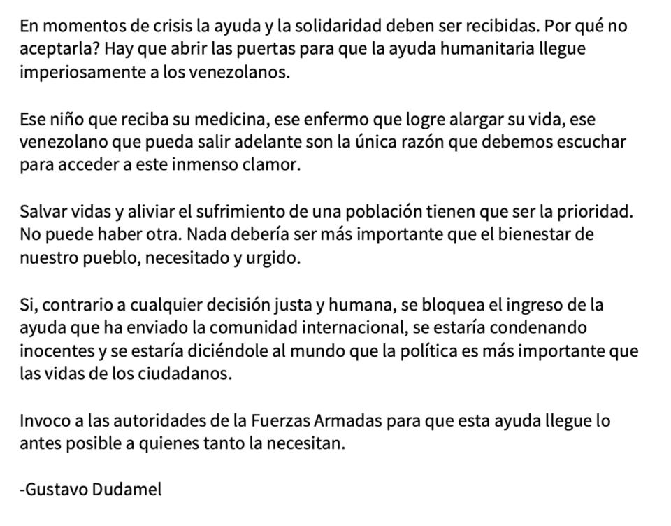 Ajuda humanitária para a Venezuela — a posição de Gustavo Dudamel