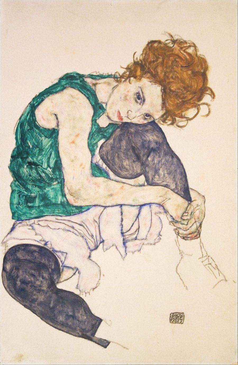 Egon_Schiele_-_Seated_Woman_with_Legs_Drawn_Up_(Adele_Herms)