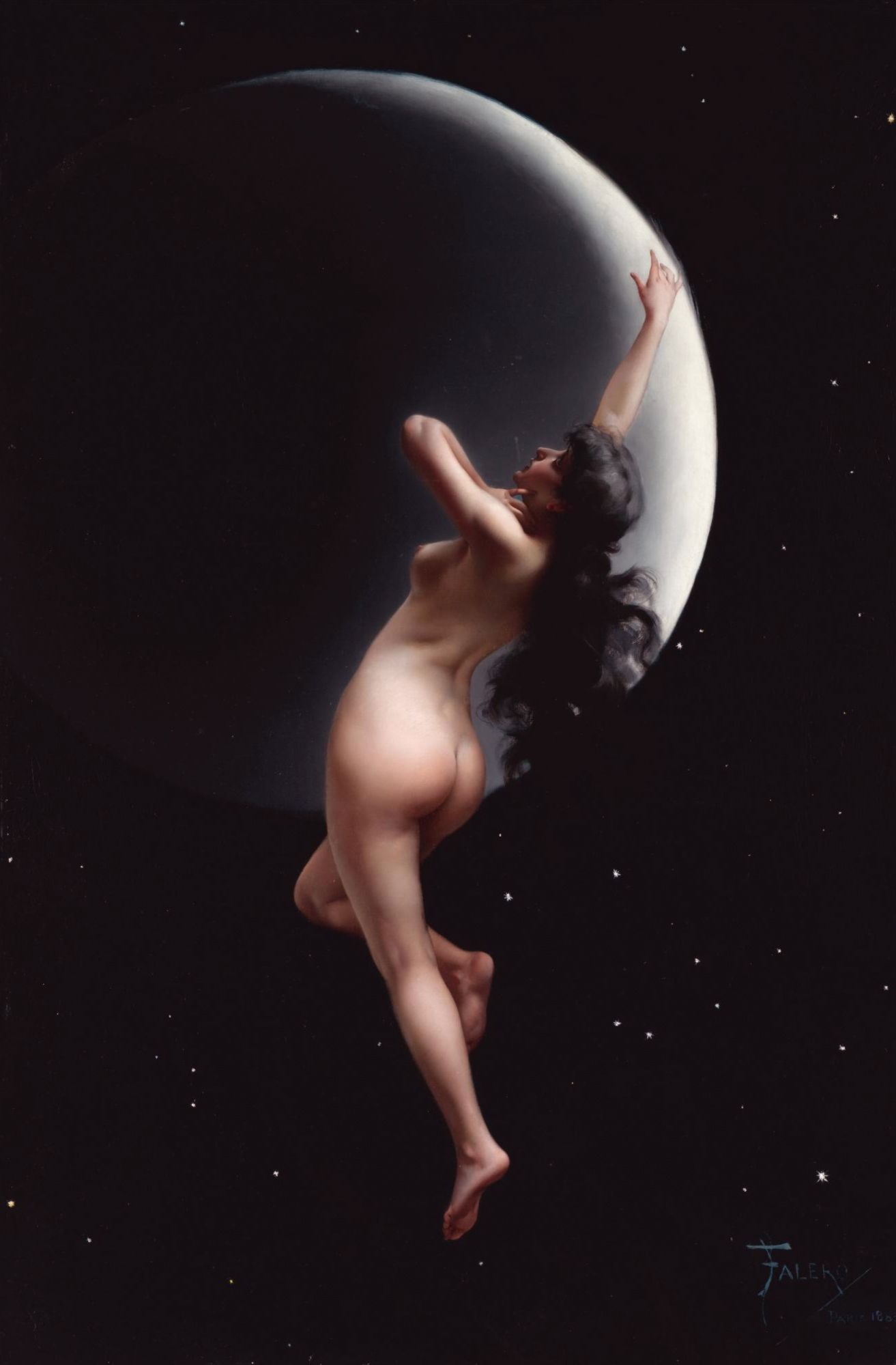 The Moon nymph  *oil on canvas laid on board *76 x 51 cm  *signed b.r.: FALERO / PARIS 1883