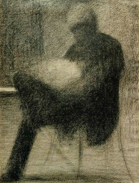 Georges Seurat [ Man Reading ] 1884