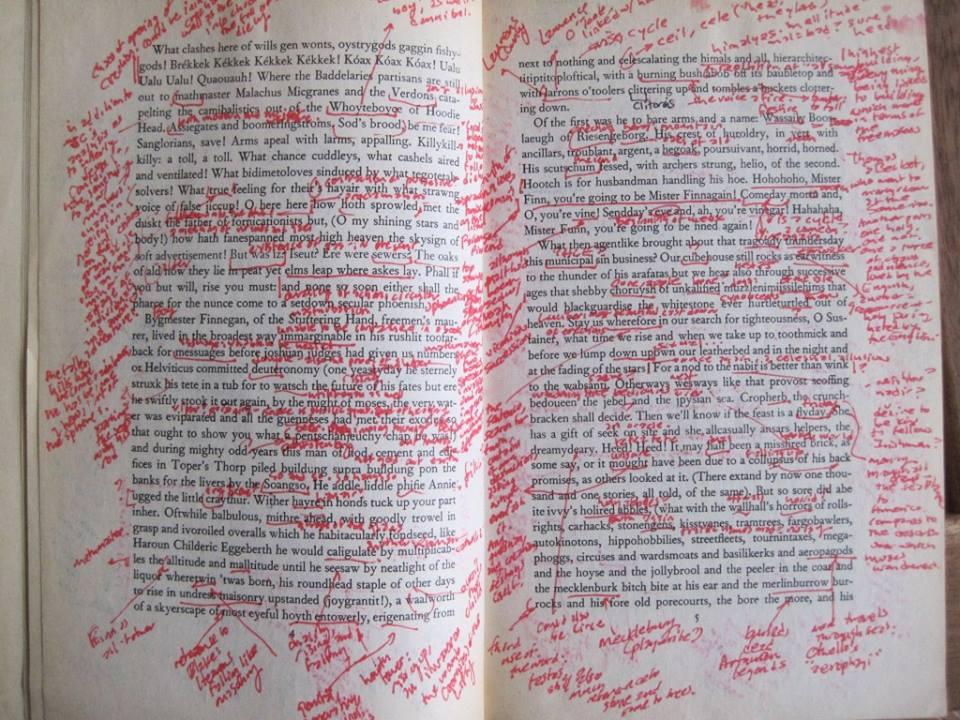 Um grupo de estudos trabalha sobre Finnegans Wake, de James Joyce