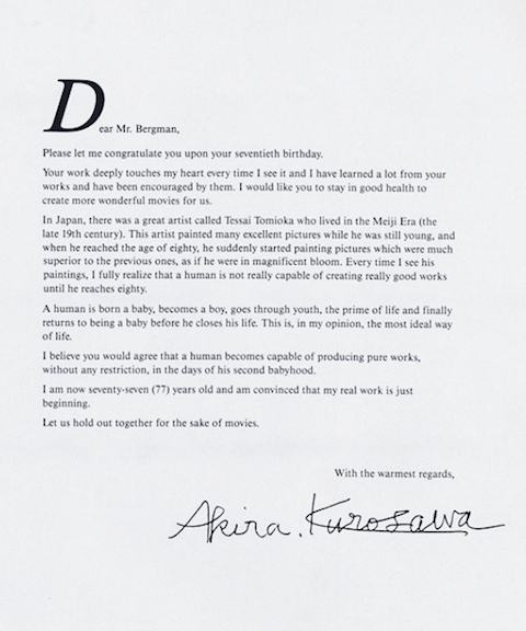 Em 1988, Akira Kurosawa saudava Bergman por seus 70 anos