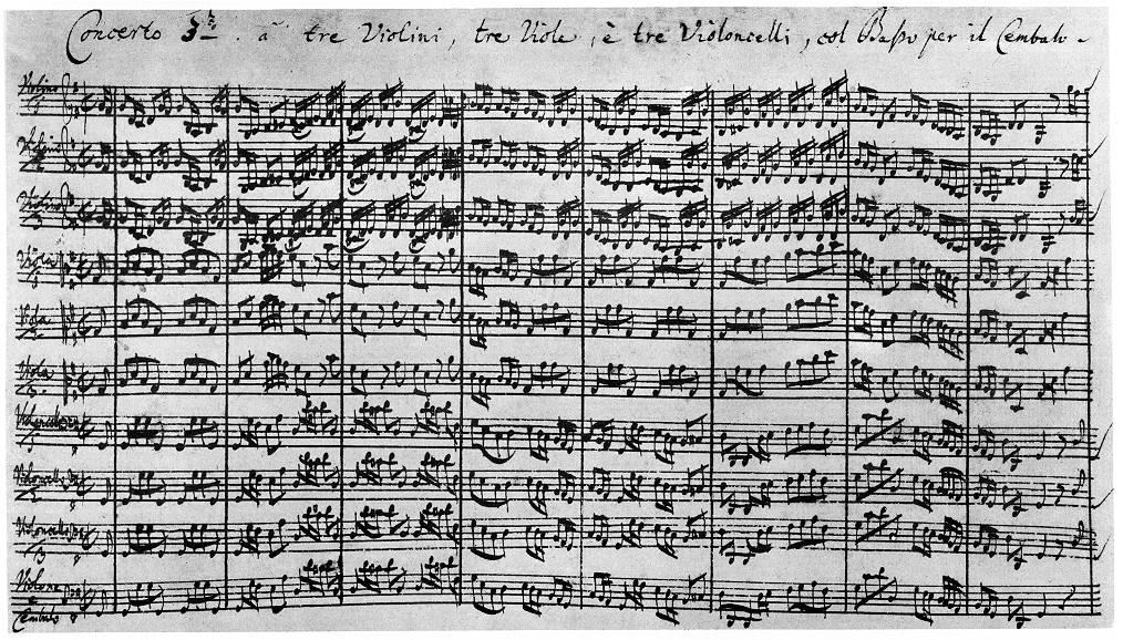 Manuscrito do terceiro Concerto de Brandeburgo de Bach