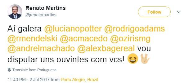 Renato Martins comprovando o mais do mesmo