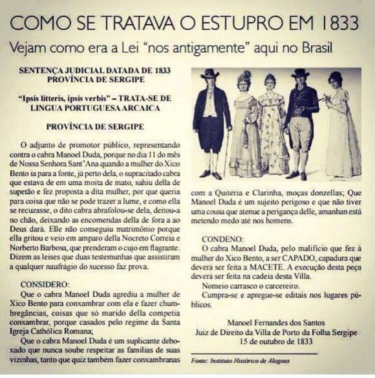 Um caso de estupro ocorrido em 1833 (atenção para o linguajar e a pena)