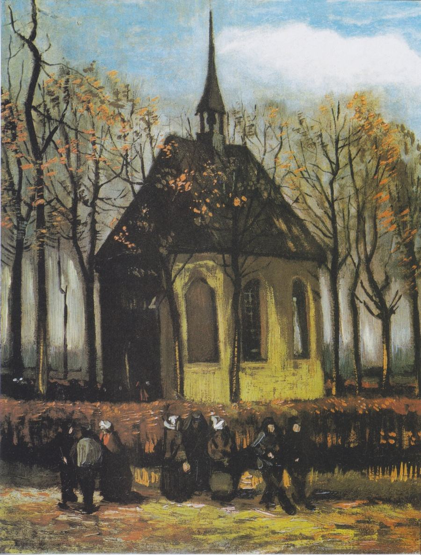 'Congregação deixando a Igreja restaurada em Nuenen', de Van Gogh