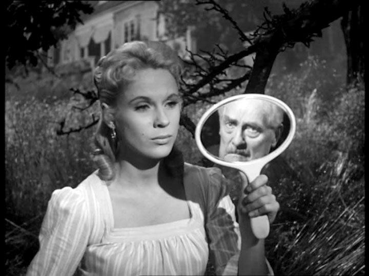 Victor Sjöström and Bibi Andersson in Wild Strawberries, 1957