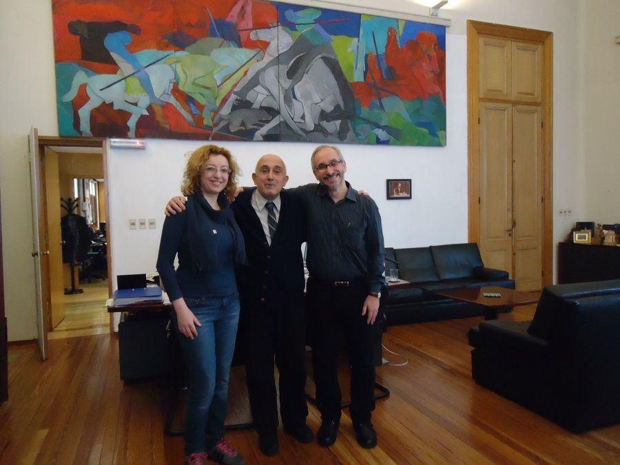 Elena Romanov, Roberto Markarian e eu na sala do reitor