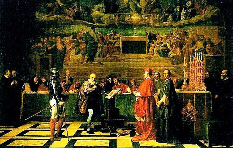 Este confronto entre ciência e religião ocorreu em uma sala do convento dominicano de Santa Maria sopra Minerva, em Roma. A Inquisição queria a retratação de Galileu para que o modelo heliocêntrico voltasse a ser uma simples suposição de fundo matemático.