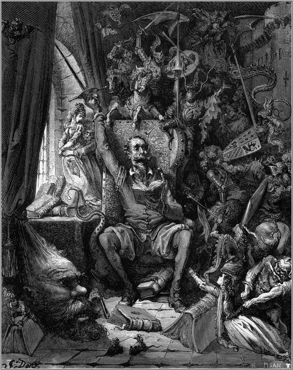 Outra gravura de Doré para os fantasmas que habitavam a mente do Quixote.