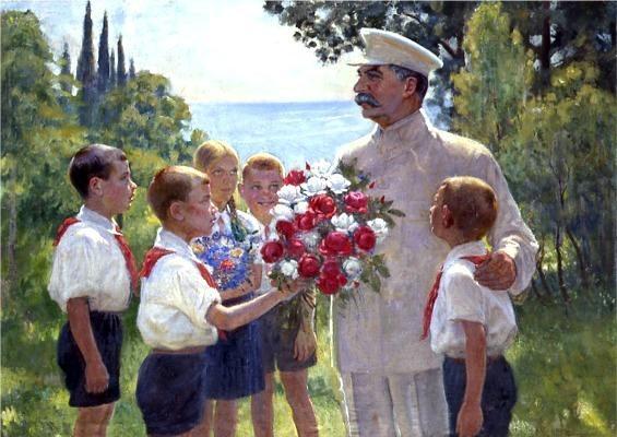 Obra típica do Realismo Socialista. Stálin, crianças, flores... Puro kitsch.