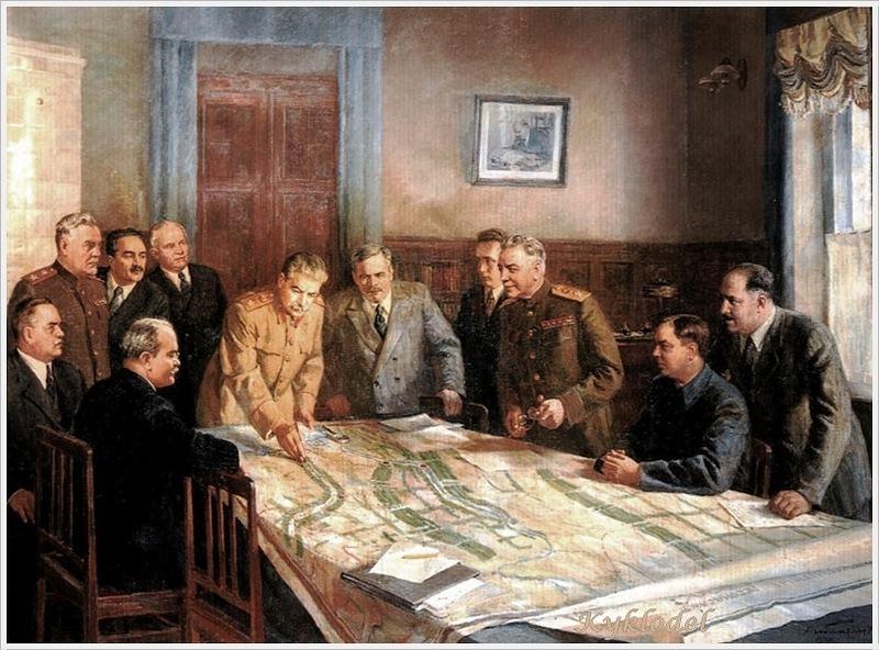Beleza da arte do realismo socialista: Stalin numa reunião do Politburo em 1949.