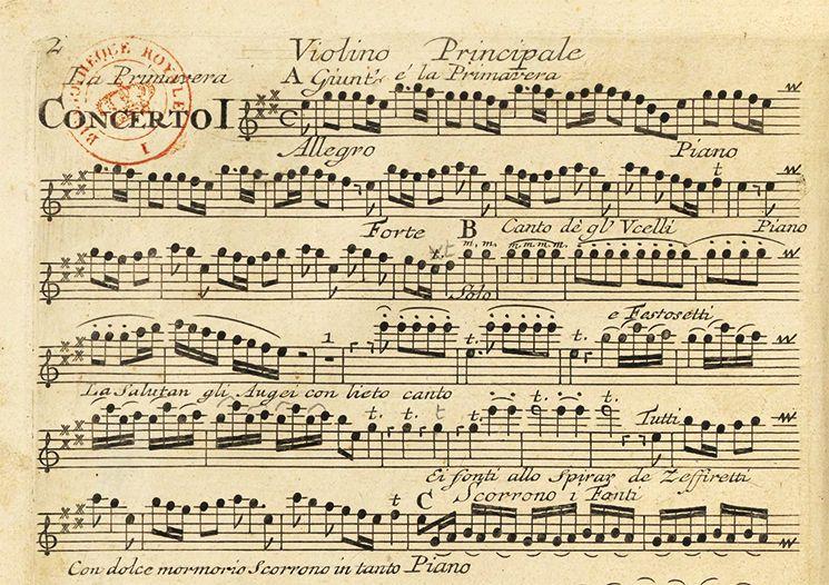 A partitura na edição de 1725